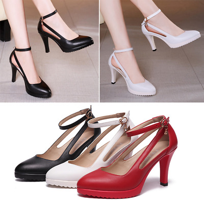 Womens Shallow Pointed Toe Ankle Strap Stilettos High Heel Dress Pumps Plus Size