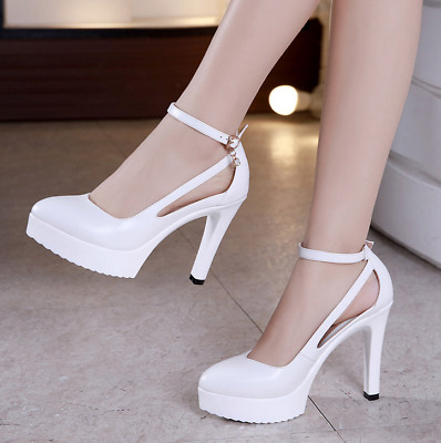 Womens Ankle Strap Buckle Sandals Ladies High Heels Pointed Toe Platform Shoes