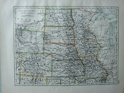 1899 Victorian Map ~ United States North West Central Wyoming Colorado Kansas