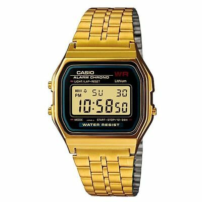 Casio A159WGEA-1EF Unisex Retro Water Resistant Resin LCD Watch Gold New