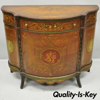 Johnson Handley Adams Paint Decorated Demilune Bombe Commode Console Table Chest