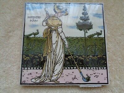 antique tile mistress mary lady in garden with hoe
