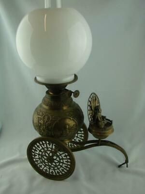 Superb Antique Brass Oil Lamp On Wheels, Embossed Design Indian Deities, & Shade