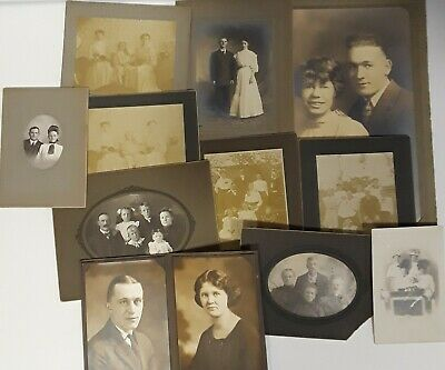 ~11~ ANTIQUE sepia mostly CABINET CARD PHOTOS of COUPLES & FAMILIES