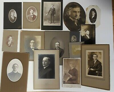 ~15~ ANTIQUE sepia mostly CABINET CARD PHOTOS of MEN ~handsome scary~ :)