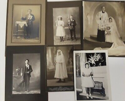 ~6~ SEPIA MOSTLY CABINET CARDS PHOTOS OF children FIRST HOLY COMMUNION PRIEST