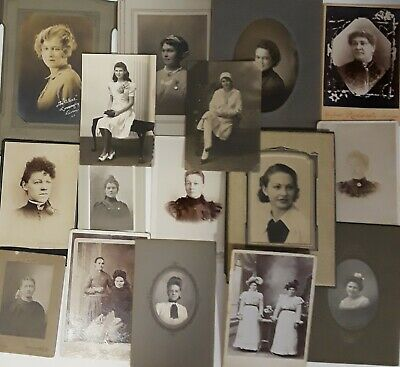 ~16~ ANTIQUE sepia & b/w mostly CABINET CARD PHOTOS of WOMEN ~pretty scary~ :0