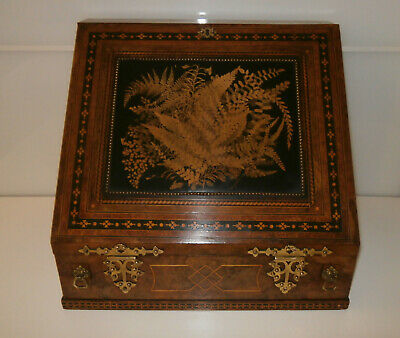 Outstanding Burr Walnut Tunbridge Ware Writing Box/Slope Complete c1860-80