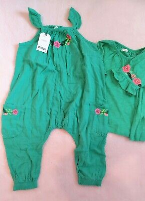 Next Baby Girl 2-3 Jumpsuit & a Top Green Embroidered Flowers Cotton Set Bundle