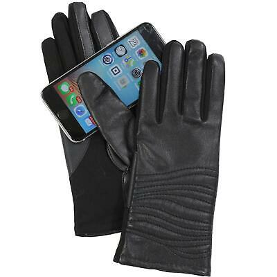 Isotoner Women's A515J1 Faux Leather & Spandex Smartouch Touchscreen Glove Black