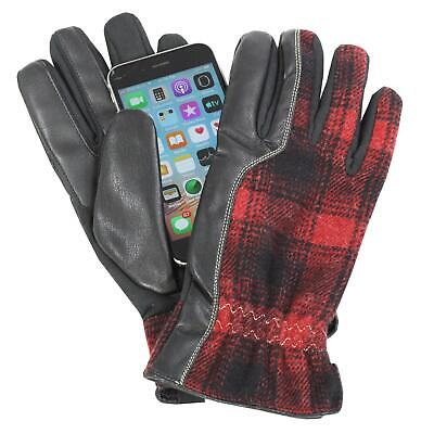 Isotoner A70125 Mens Smartouch Touchscreen Polyester Wool Glove Black Red Medium
