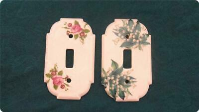 Vintage Ceramic Porcelain Light Switch Covers in Floral Rose pattern