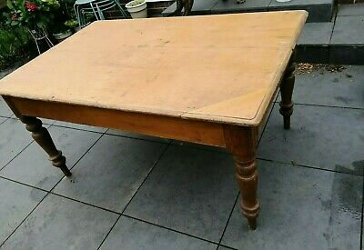 Large Vintage Antique Pine Rustic Farmhouse Kitchen Dining Table French