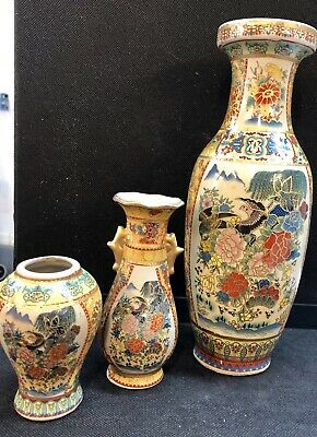 Beautiful Chinese Hand Painted Bird Floral Vases With Gold Inlay Set Of Three