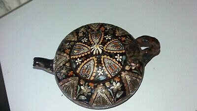 Small Vintage Antique Looking Clay Terracotta Hand Painted Teapot Needs Tlc