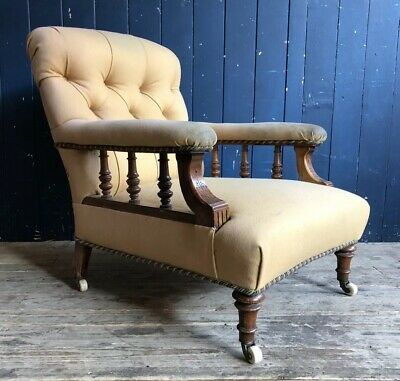 Antique Victorian Low Button Back ArmChair ReUpholstery Project Chair DELIVERY*