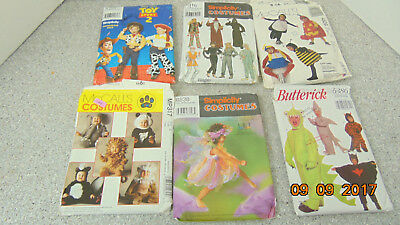 LOT OFF 6 Halloween Costumes Sewing Patterns: Butterick, McCalls,Simplicity kids