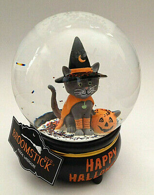 NEW Halloween GRAY CAT Cauldron Musical Snow Globe Witch Hat Costume Water Dome