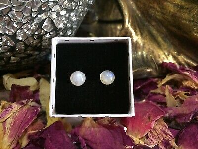 Pretty natural Rainbow Moonstone 5mm round cabochon steel stud earrings 🌈