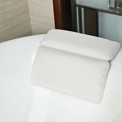 Non-Slip White Cushioned Bath Pillow With Slip-Resistant Suction Cups Bathroom