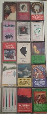 Lot of 15 Christmas Cassette Tapes ~ Andy Williams, Diana Ross, Country, Glenn M