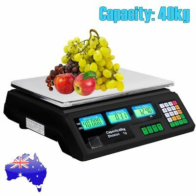 Kitchen LCD Digital Electronic Scale 40KG Commercial Shop Weight Food Scales AU