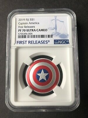 NGC PF70 2019 CAPTAIN AMERICA SHIELD - 10Gram SILVER COIN  FIRST RELEASES