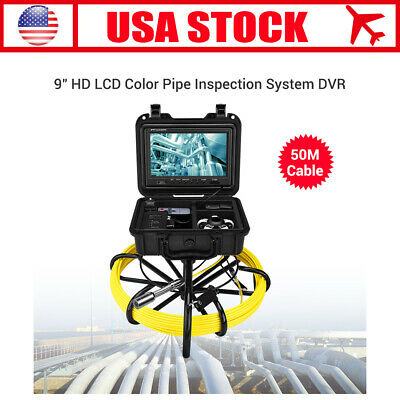 9Inch 50M Pipe Drain Inspection System 1000TVL IP68 Snake Camera Video DVR 8GB