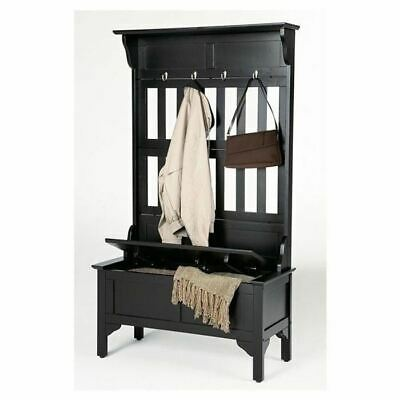 Black Finish Wooden Hall Tree Coat Rack Hat Hooks Storage Stand Entryway Bench