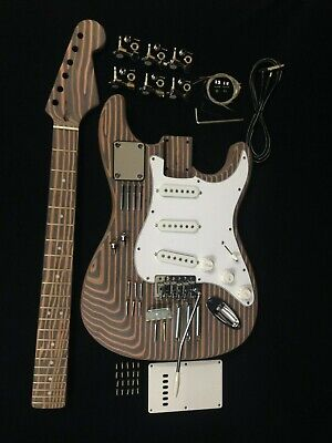 E500 ST Style Electric Guitar DIY,Technical Zebra Wood Body & Neck,No-Soldering