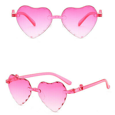 Cute Heart Shaped Children Sunglasses Gradient Rimless Glasses Kids Eyeglasses
