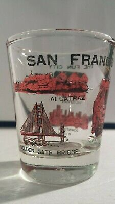 Vtg 1984 SAN FRANCISCO Landmarks Shot Glass ~ Fun City ~Travel Souvenir Barware