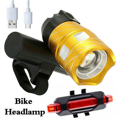 LED T6 MTB Rear&Front Set 15000LM Bicycle Lights Bike Headlight USB Rechargeable
