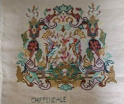 Vintage Trammed Tapestry Canvas Chippendale C18th Design Part worked no wools