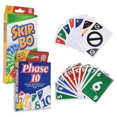 Phase 10 / Skip-bo Rummy Card Game Fun Family Exciting 6 Players Travel Game