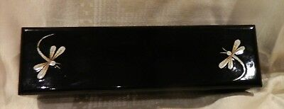 Black Lacquer Chopstick Box 10 Sets Mother Of Pearl Inlay Chopsticks & 9 Holders