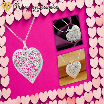 Pretty Hollow Heart 925 Sterling Silver Necklace Intricate Floral Plant Filigree