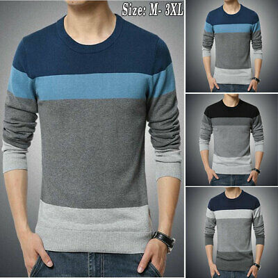 AU Men's Casual Round Neck Knit Autumn Sweater Pullover Knitwear Jumper Coat Top