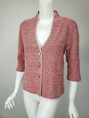 ST JOHN COLLECTION Mauve Pink Ribbon Boucle Knit Satin Trim Jacket sz 4