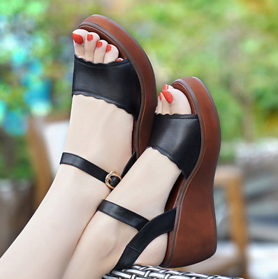 Summer Women Peep Toe Wedge Sandals Ladies Anle Strap Platform Casual Shoes Size