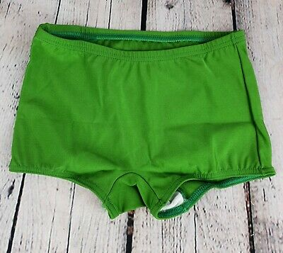 Vtg 1970s Boys Shiny Green Nylon Blend Unworn Swimming Trunks *7-8 yrs* KA66