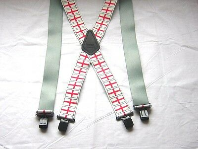 """MENS CHECK CHEQUERED FLAG BRACES MOTORBIKE BLACK HEAVY DUTY 2/"""" BRACE YOURSELF"""