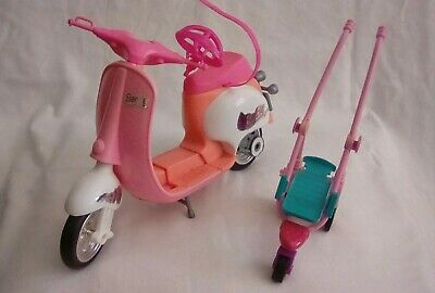 Barbie 1997 Pink/Peach Scooter And Dog Stroller Bundle