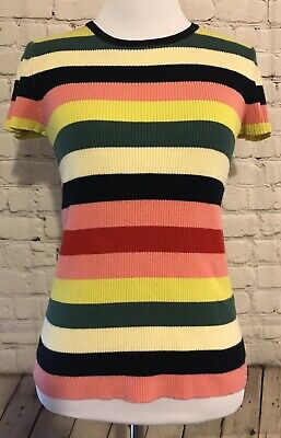 Zara Knit Women Small Fitted Shirt Striped Pink Blue Yellow Green Cream Ribbed