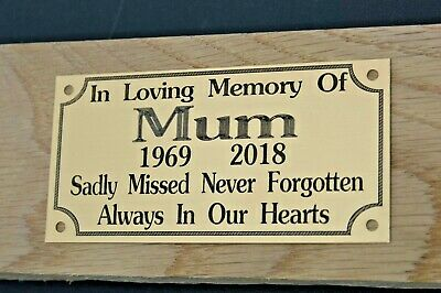 "Solid Brass Memorial Bench Plaque Grave Marker Sign 4""X2"" Personalised Engraved"