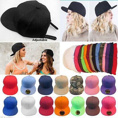Unisex Plain Snapback Hat Flat Peak Funky Retro Baseball Hip Hop Cap Summer Hats