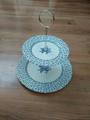 Vintage Royal Victoria Ironstone 2-Tier Cake Stand Rose Bouquet Blue & White VGC