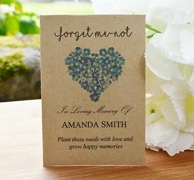 50 Funeral Favour personalised Seed Packets|Forget Me-not  (with seeds)
