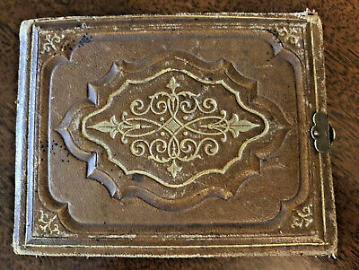 ANTIQUE Victorian Leather Album w/13 Tintypes & 33 Visiting Cards~1800's (3.5x5)