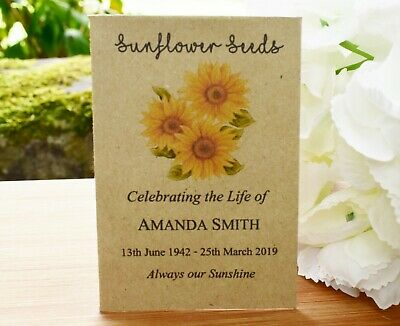 50 Funeral Favour personalised Seed Packets| Sunflower (with seeds)